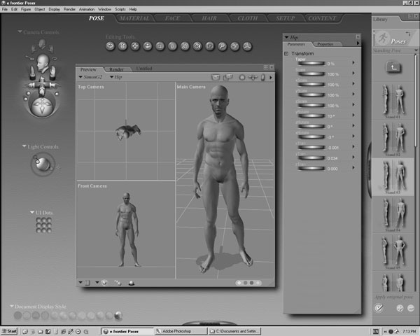 male figure realistic standing human, (.3ds) 3d studio software, Muscles