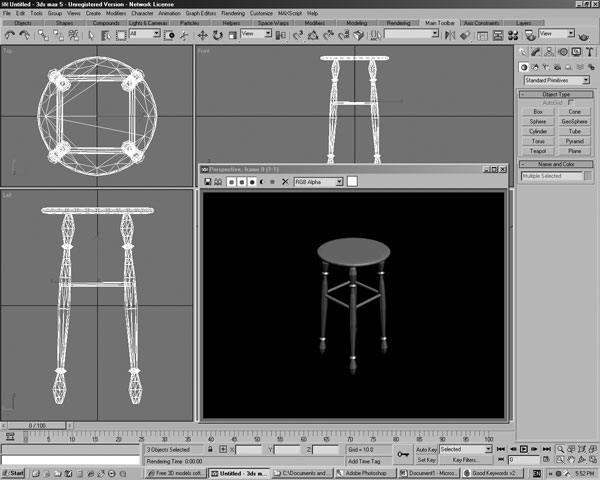 Small Table Model Software Design 3ds 3d Studio Software Household Items