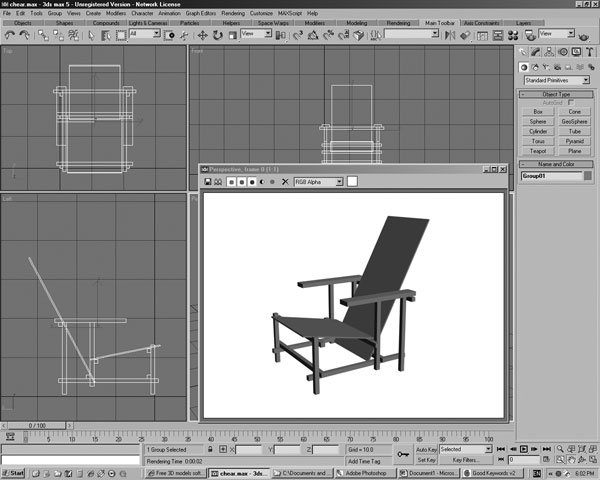 Folding chair home design software, ( 3ds) 3D Studio software