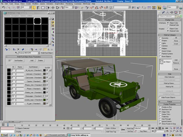 ... Willies army car, (.3ds) 3D Studio Max software Military Objects