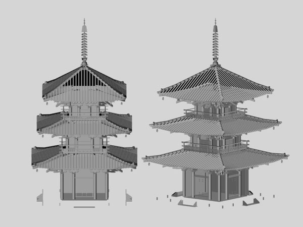 Architecture Objects Traditional Japanese House Model, Standard Japan China  Residence Architecture Housing Structure