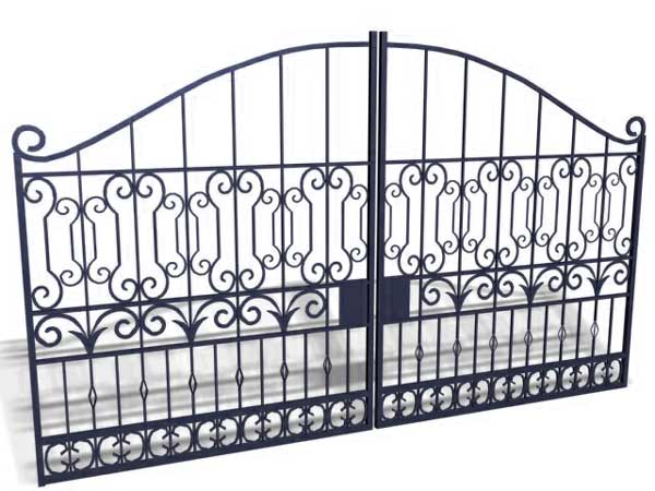 Iron Gate fence entrance metal gate, (.3ds) 3D Studio Max software ...