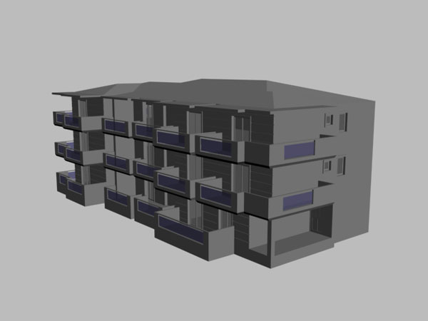 Multi Family Block Building 3ds 3d Studio Software