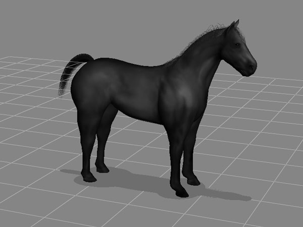 Horse model, large hoofed mammal, (.3ds) 3D Studio Max software ...