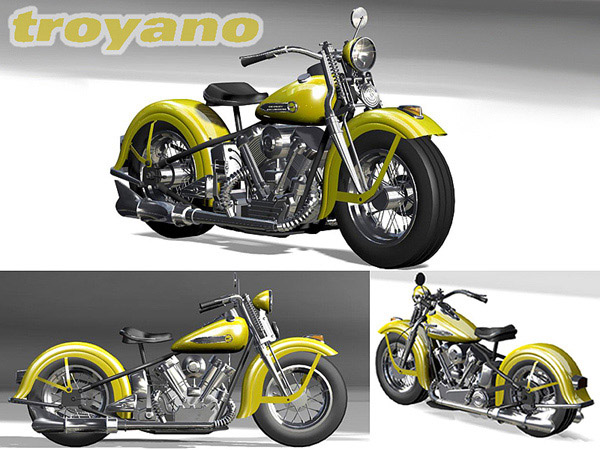 Harley Davidson Knucklehead 1947, ( max) 3ds max software