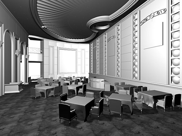 Restaurant hall interior architecture design model ds