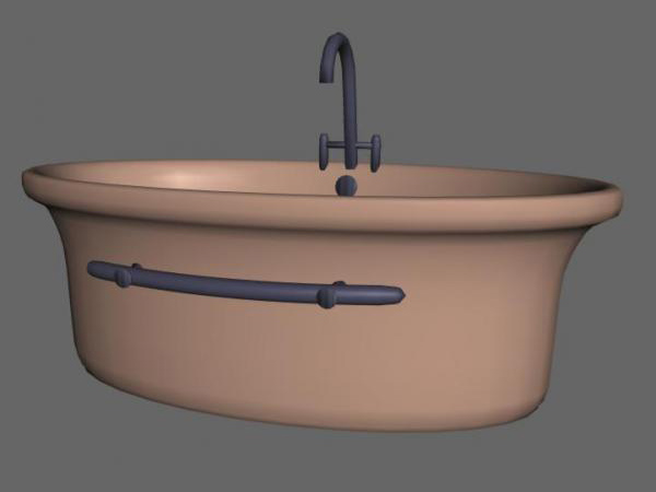 Simple Bath-tub bathroom equipment, (.3ds) 3D Studio software ...