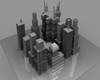 3D City Block Buildings urban town group mass, (.obj) OBJ. Architecture