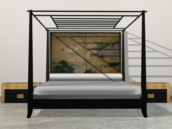Canopy bed furniture bedroom furnishing, ( max) 3ds max