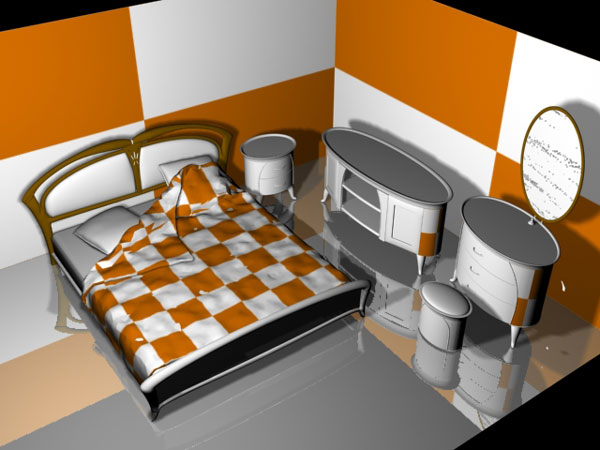 Bedroom furniture room set 3ds 3d studio max software for Room modeling software