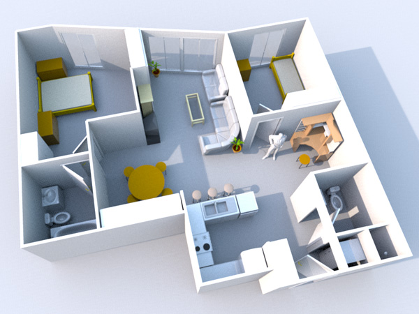 Condo apartment floor plan obj obj software Home modeling software