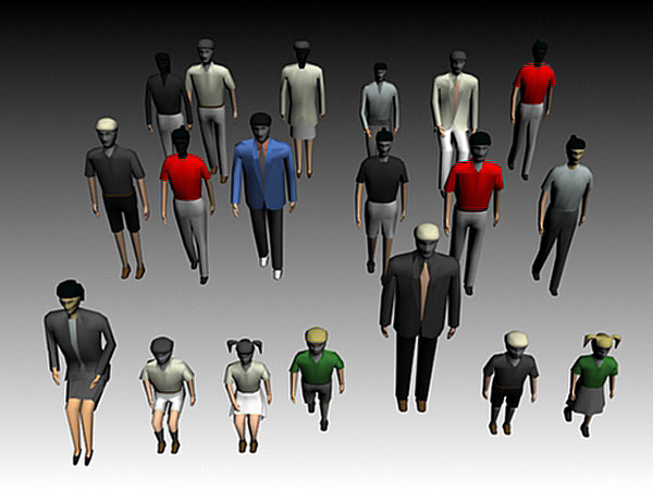 ... crowd public mannequin group, (.3ds) 3D Studio Max software Life Forms