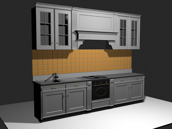 Custom kitchen cabinets with backsplash 3ds 3d studio for Kitchen cabinets models