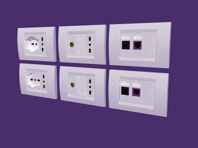 Electrical outlets and switch plates, (.max) 3ds max software ...
