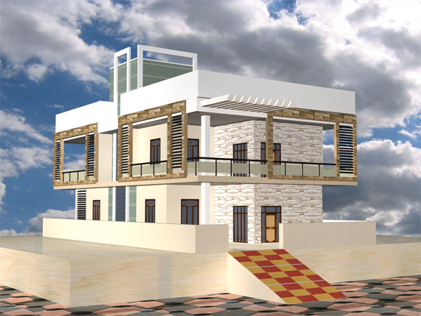 Two storey house modern design max 3ds max software for Exterior 3ds max model