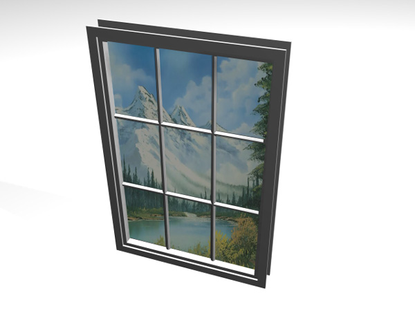 Fixed window french frame 3ds 3d studio max software for Window object
