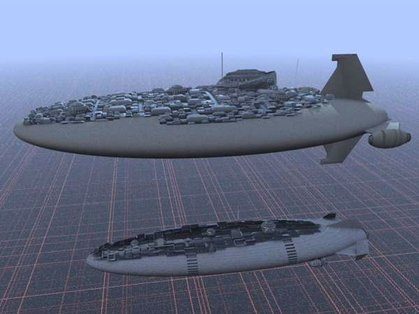 Goliathan Zeppelin City, (.max) 3ds max software Transportation ...