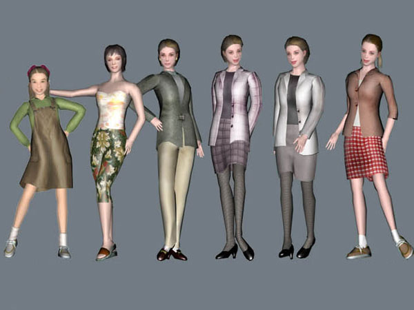 ... Group people businesswoman figures, (.max) 3ds max software Life Forms