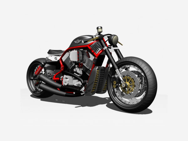 Harley davidson bobber motorcycle max 3ds max software