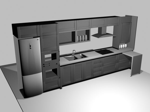 Ikea type kitchen cabinets, (.3ds) 3D Studio Max software ...