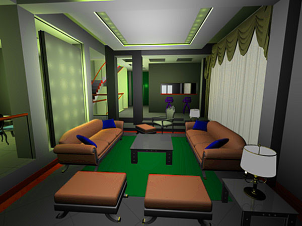 Interior design decoration home office 3ds 3d studio for Free 3d office design software