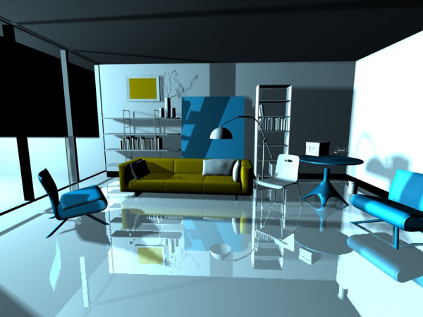 Interior Room Scene Urban Design, (Max) 3ds Max Software