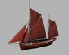 Ketch sailing watercraft with two masts, (.obj) OBJ.