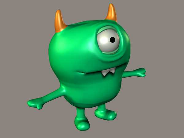 nasty monster green one eyed troll 3ds 3d studio max software
