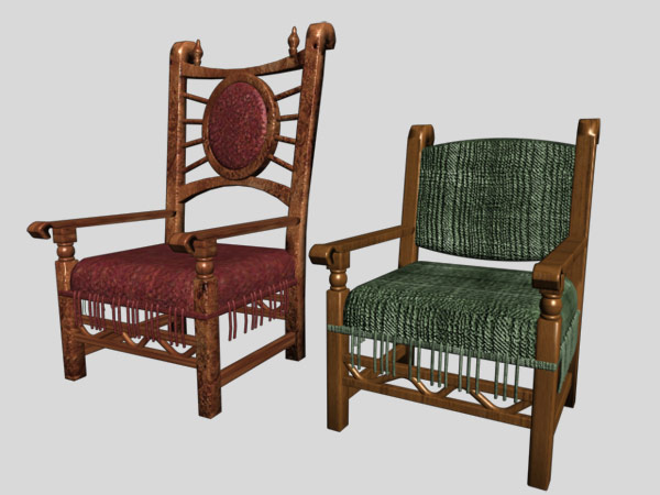 Medieval Antique Furniture Chairs Items 3ds 3d Studio