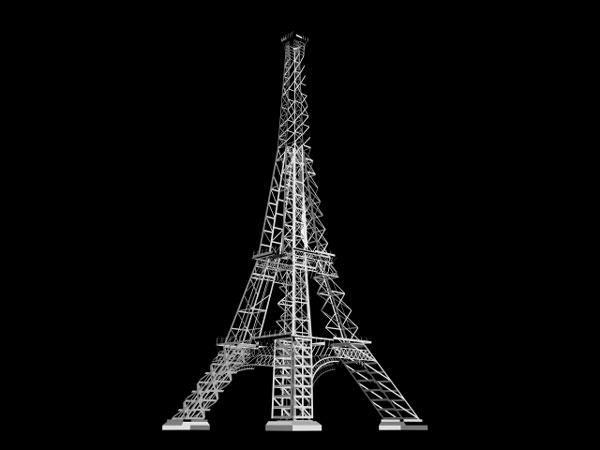 paris famous eiffel tower 3ds 3d studio max software architecture objects. Black Bedroom Furniture Sets. Home Design Ideas