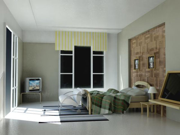 Daylight interior room house bedroom max 3ds max for Room modeling software