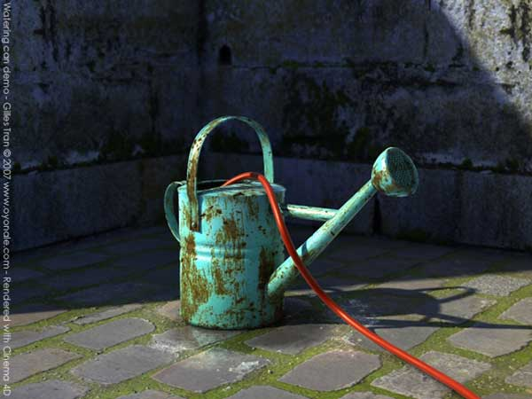 Rusty watering can gardening tool obj obj software for Gardening tools 3d model