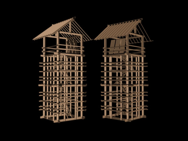 Seirou Lookout tower wooden structure, ( 3ds) 3D Studio Max