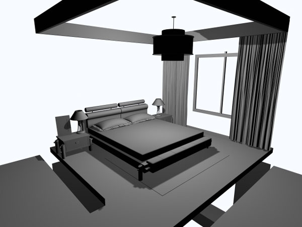 Simple bedroom interior design 3ds 3d studio max for Model bedroom interior design