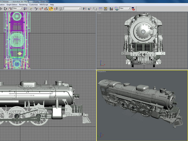 Steam engine antique train 3ds 3d studio max software for 3d studio max download