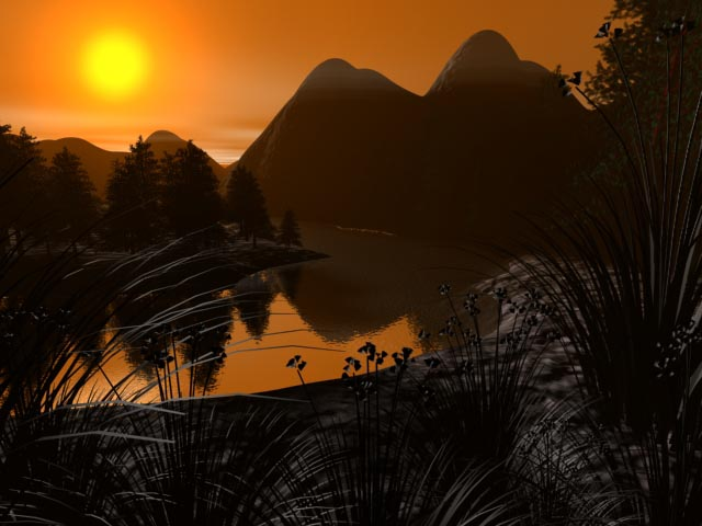 Landscape Sunset Scene Mountains View, (.max) 3ds Max