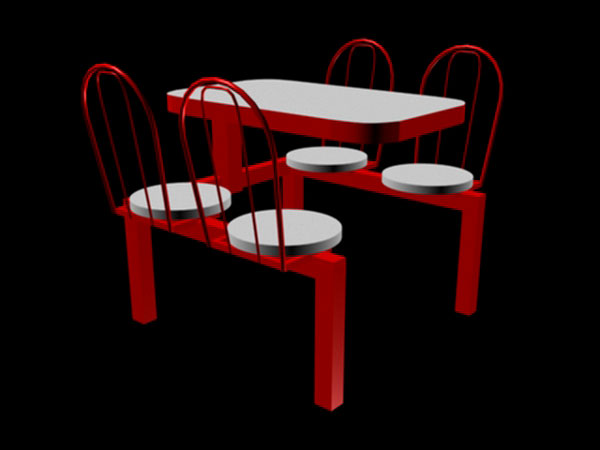Canteen Table Fast Food Furniture Unit Outdoor 3ds 3d Studio Software Miscellaneous Items