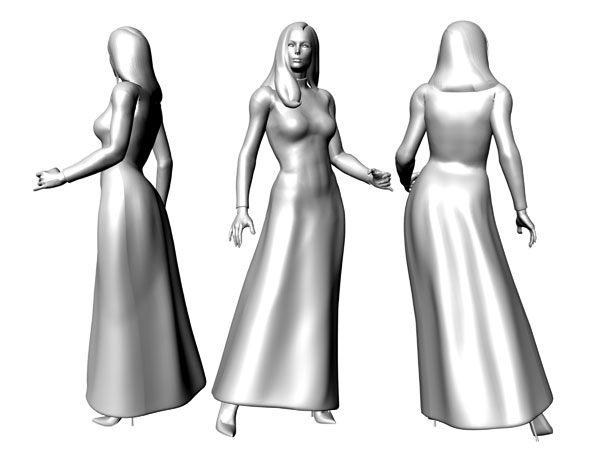 Female pose dressed model human, ( 3ds) 3D Studio software, Life Forms
