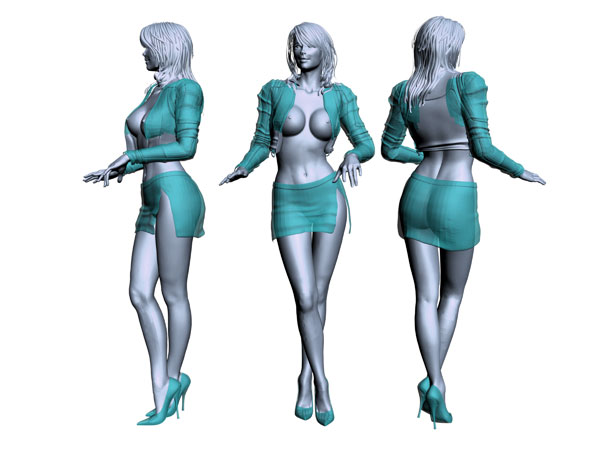 Dressed Female model human pose, ( 3ds) 3D Studio software, Life Forms