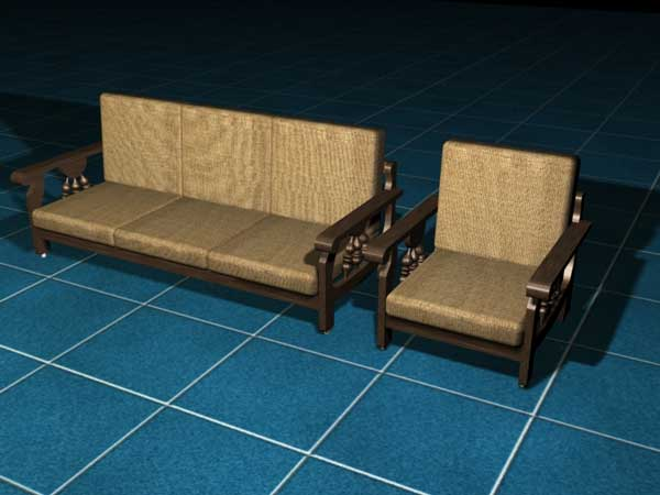 Modern wooden sofa furniture, (.max) 3ds max software Household